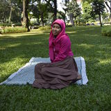 Young muslim woman at park Royalty Free Stock Image