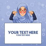 Muslim woman pointing finger down at copy space. Young muslim woman wearing hijab and glasses pointing finger down at copy space, cartoon character design stock illustration