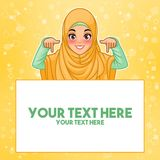 Muslim woman pointing finger down at copy space. Young muslim woman wearing hijab veil pointing finger down at copy space, cartoon character design, against vector illustration