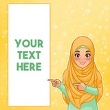 Muslim woman pointing finger to the right side at copy space. Young muslim woman wearing hijab veil pointing finger to the right side at copy space, cartoon vector illustration