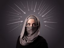 Muslim woman wearing niqab. Young muslim woman wearing niqab with white arrows pointing to her head Royalty Free Stock Photography