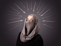 Muslim woman wearing niqab. Young muslim woman wearing niqab with white arrows pointing to her head Stock Image