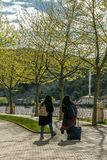 Young muslim women in the city park Stock Image