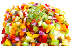 Young Mustard Green and Peppers Stock Images