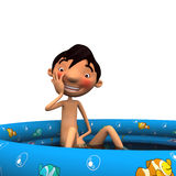 Young naked man sitting in a blue pool Royalty Free Stock Photo