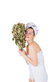 Young naked woman in towel with oak broom. On isolated white background Royalty Free Stock Photos