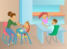 Nanny and kids eat. Young nanny feeding baby in the kitchen cartoon illustration Royalty Free Stock Images