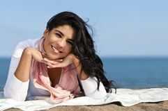 Young native american woman at beach Royalty Free Stock Photography