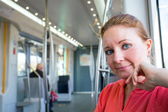 Young native dutch woman in the metro in Amsterdam Netherlands Royalty Free Stock Image