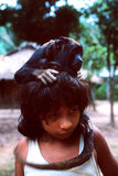 Young native indian Awa Guaja of Brazil. With Monkey The Awa- Guaja inhabit the forests of Maranhao (Brazil), call themselves Awa, a term that means man, person stock photo