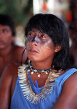 Young native indian of Brazil. The Guajajara are one of the most numerous indigenous people (around 13,500) of Brazil. Inhabit 11 indians lands, all located in stock image