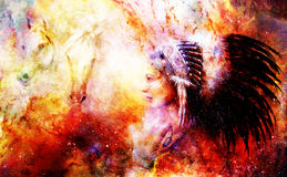 Young native indian woman wearing a gorgeous feather headdress, with two horse, and cosmic space background. Royalty Free Stock Photo