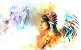 Young native indian woman wearing a gorgeous feather headdress, with two horse, and cosmic space background. Royalty Free Stock Images