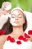 Young Natural Relaxing Beauty Having Moistening Mask Applied Stock Photos