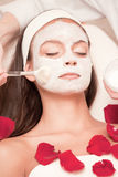 Young Natural Relaxing Beauty Having Moistening Mask Applied Stock Photography