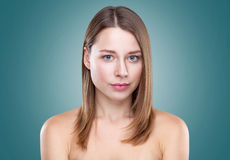 Young natural woman with great skin complexion. Young naturally beautiful woman with great skin complexion Royalty Free Stock Photography