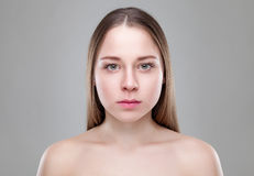 Young natural woman with great skin complexion. Young naturally beautiful woman with great skin complexion Stock Photos