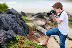 Young nature photographer Royalty Free Stock Photography