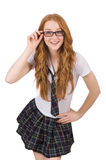 The young naughty student female isolated on white Royalty Free Stock Photography