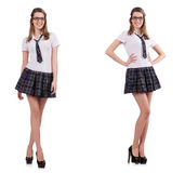 The young naughty student female isolated on white Stock Photos