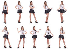 The young naughty student female isolated on white Stock Photo