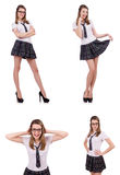 The young naughty student female isolated on white Royalty Free Stock Photo