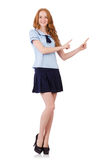 Young naughty student  female pointing isolated on Stock Photography