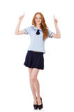 Young  naughty student  female pointing isolated Stock Images