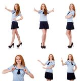 Young naughty student pressing virtual button isolated on white Stock Image