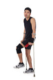 Young nepalese athlete, crutches Royalty Free Stock Photo