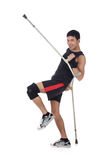 Young nepalese athlete, crutches Royalty Free Stock Photos
