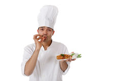 Young nepalese chef male, tasty Royalty Free Stock Photos