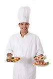 Young nepalese chef oriental plates Royalty Free Stock Photos