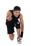 Young nepalese man athlete, thumb up Stock Images