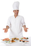 Young nepalese man chef, oriental meal Stock Photography