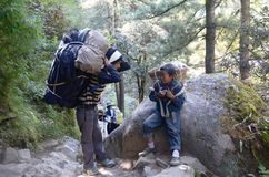 Young Nepalese porters. In the Everest base camp trek in Nepal Stock Photography
