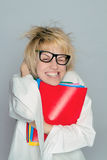 A young nerd girl with large glasses stock images