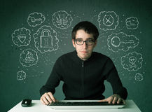 Young nerd hacker with virus and hacking thoughts. On green background Stock Image