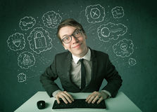 Young nerd hacker with virus and hacking thoughts Stock Photo