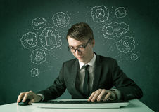 Young nerd hacker with virus and hacking thoughts Royalty Free Stock Photography