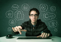 Young nerd hacker with virus and hacking thoughts Stock Photography