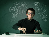 Young nerd hacker with virus and hacking thoughts Stock Image