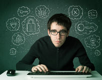 Young nerd hacker with virus and hacking thoughts Royalty Free Stock Image
