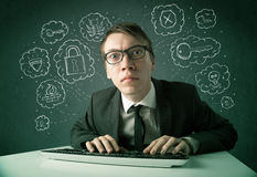 Young nerd hacker with virus and hacking thoughts Stock Images