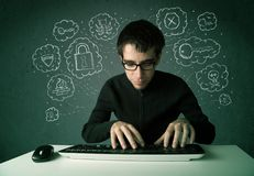 Young nerd hacker with virus and hacking thoughts Royalty Free Stock Photo