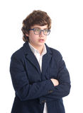 Young Nerd Student shot against white background Stock Photos