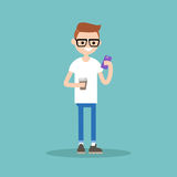 Young nerd texting on his smartphone and holding a cup of coffee. Young nerd texting on his smartphone and holding a cup of take away coffee / flat editable Royalty Free Stock Photos