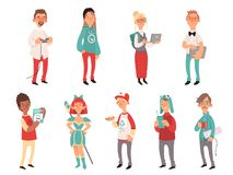 Young nerds. Smart teen geeks boys and girls teenagers technology lovers vector characters. Illustration of nerd and geek, girl teen and boy stock illustration