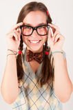 Young nerdy cute girl smiling. Stock Photography