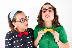 Young nerdy girls Stock Photo